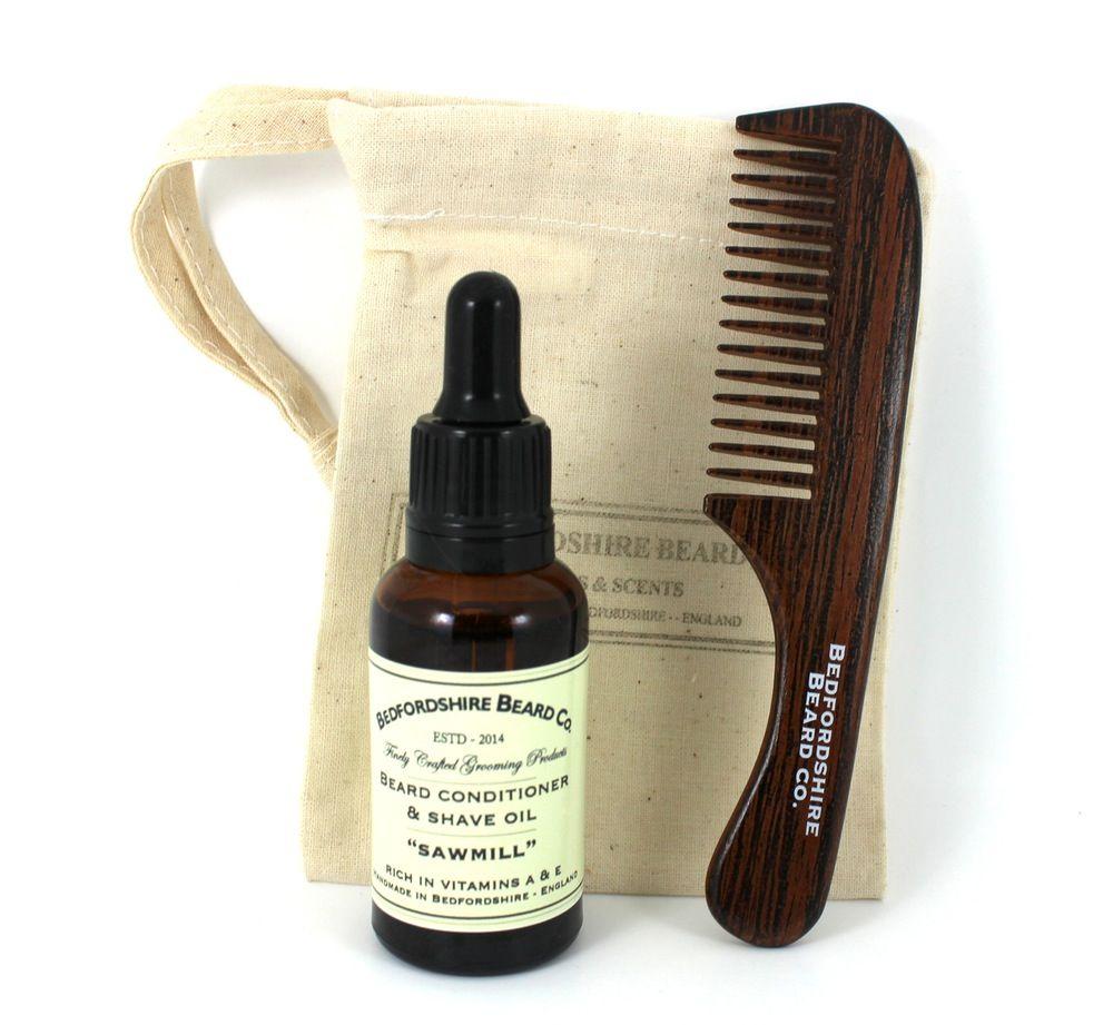 Conjunto de iniciação barba, pente, óleo e saco algodão oferta barbudos.pt