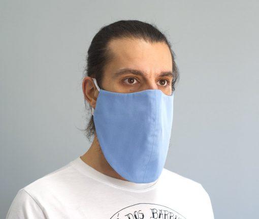 mascara de pano reutilizavel lavaval virus barbudo azul claro