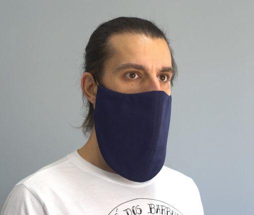 mascara de pano reutilizavel lavaval virus barbudo azul escuro