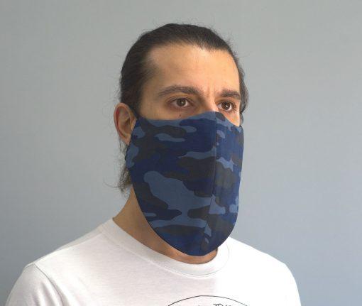 mascara de pano reutilizavel lavaval virus barbudo camuflado azul