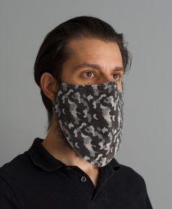 mascara de pano reutilizavel lavaval virus barbudo camuflado cinza branco
