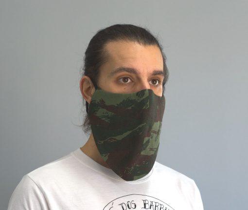 mascara de pano reutilizavel lavaval virus barbudo camuflado verde