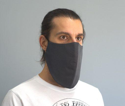 mascara de pano reutilizavel lavaval virus barbudo cinza