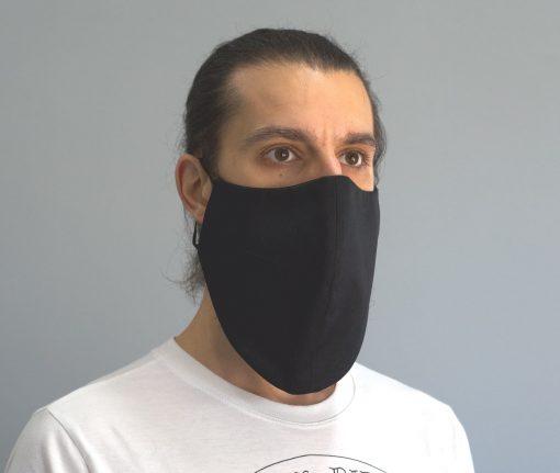 mascara de pano reutilizavel lavaval virus barbudo preto