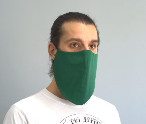 mascara de pano reutilizavel lavaval virus barbudo verde