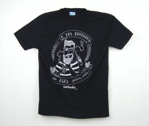 t-shirt barbudos e dos barbudos que elas gostam mais preta